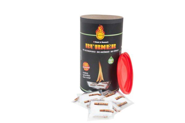 Original Burner Firelighters Bio oil fire starter in barrels of 100 sachets.