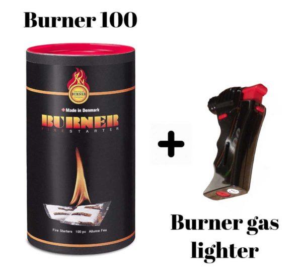 Original Burner Firelighters Bio oil fire starter, 100 sachets and gas lighter.