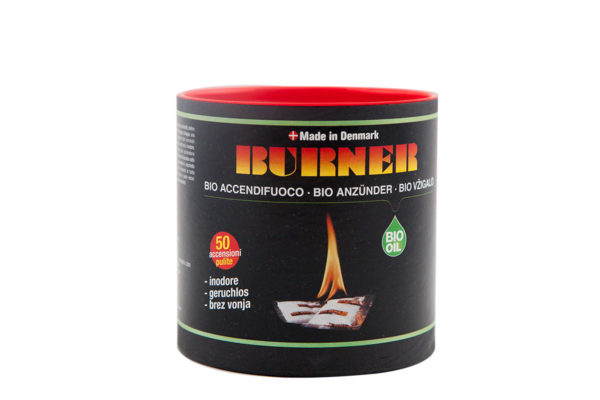 Original Burner Firelighters Bio oil fire starter in barrels of 50 sachets.